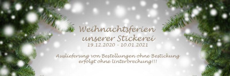 Unsere Stickerei macht Weihnachtsferien